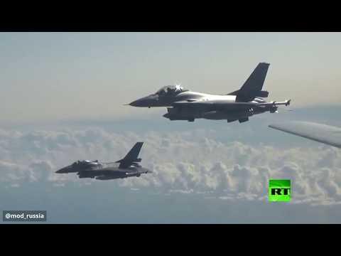 شاهد طائرات الناتو ترافق البجعة الروسية فوق بحر البلطيق