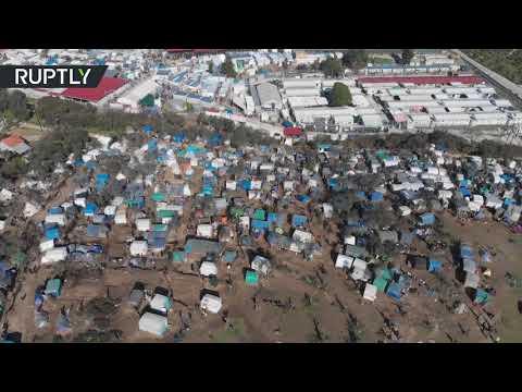 لقطات جوية لـجحيم مخيم موريا في جزيرة ليسبوس اليونانية