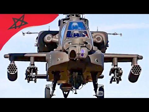 شاهد الجيش المغربي يستعرض المروحية المقاتلة الأباتشي الأقوى في العالم