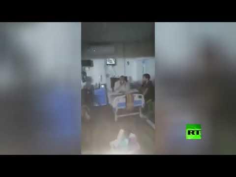 شاهد مياه الأمطار في الأهواز الإيرانية تتدفق إلى قسم علاج مصابي كورونا